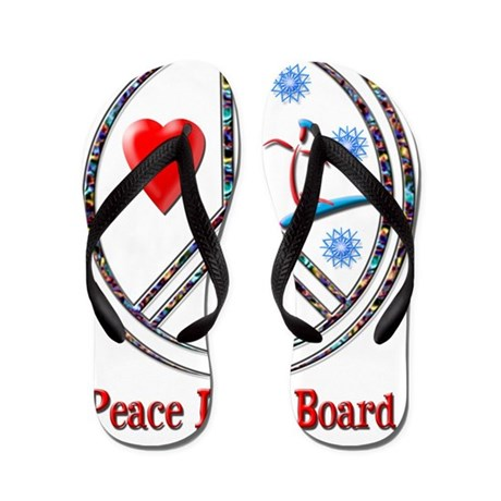 peace love board Flip Flops