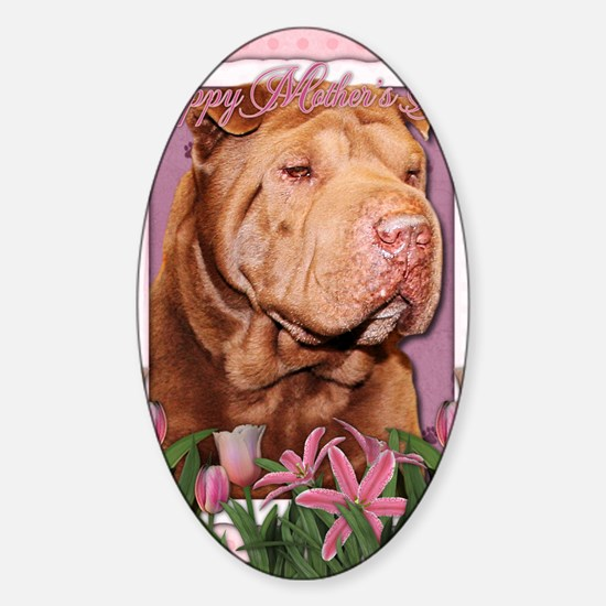 Mothers_Day_Pink_Tulips_Shar_Pei_Ci Sticker (Oval)