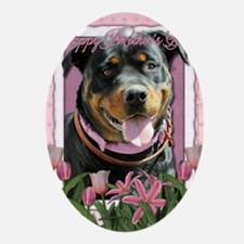 Mothers_Day_Pink_Tulips_Rottweiler_S Oval Ornament