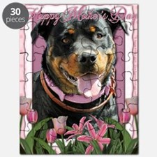 Mothers_Day_Pink_Tulips_Rottweiler_SambaPar Puzzle