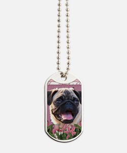 Mothers_Day_Pink_Tulips_Pug Dog Tags