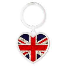 UK Flag Heart Keychain