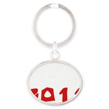 rabbit32black Oval Keychain