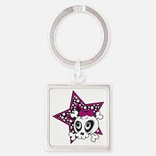 Girly Emo Skull Square Keychain