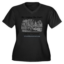 teaparty-lig Women's Plus Size Dark V-Neck T-Shirt