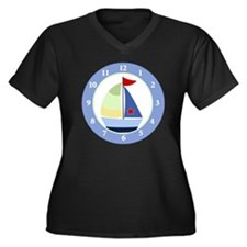 Sailboat Wal Women's Plus Size Dark V-Neck T-Shirt