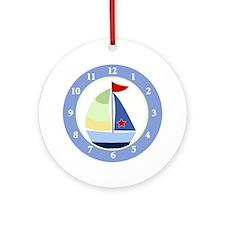 Sailboat Wall Clock Round Ornament