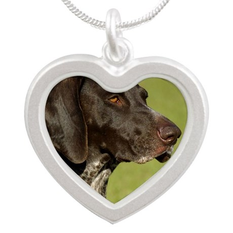 German Shorthaired Pointer 9 Silver Heart Necklace