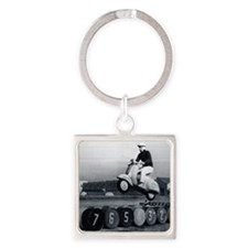 Stunt Scooter Square Keychain