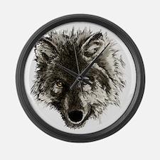 wolf port_dark Large Wall Clock