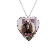 Pink_Tulips_Poodle_Chocolate Necklace