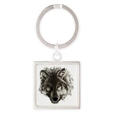 wolf port_dark Square Keychain