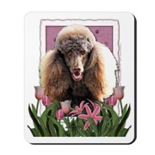 Pink_Tulips_Poodle_Chocolate Mousepad