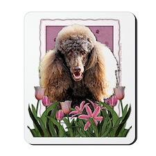 Pink_Tulips_Poodle_Chocolate Mousepad