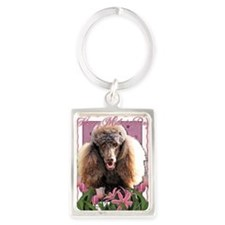 Mothers_Day_Pink_Tulips_Poodle_C Portrait Keychain