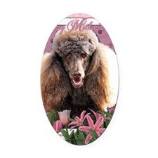 Mothers_Day_Pink_Tulips_Poodle_Cho Oval Car Magnet