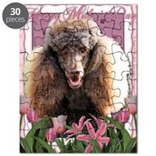 Mothers_Day_Pink_Tulips_Poodle_Chocolate Puzzle