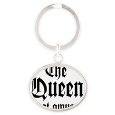 QueenAmused_D Oval Keychain