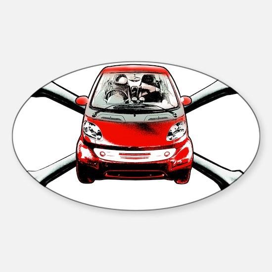Smart Crossbones Red copy Sticker (Oval)