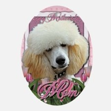 Mothers_Day_Pink_Tulips_Poodle_Apric Oval Ornament