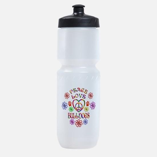 Peace Love Bulldogs Sports Bottle