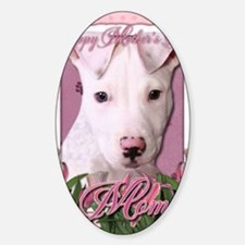 Mothers_Day_Pink_Tulips_Pitbull_Pet Sticker (Oval)