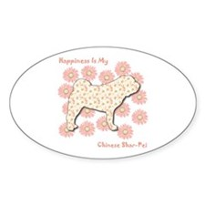 Shar-Pei Happiness Oval Decal