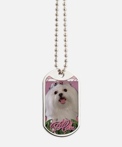 Mothers_Day_Pink_Tulips_Maltese_Mom Dog Tags