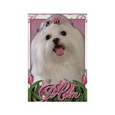 Mothers_Day_Pink_Tulips_Maltese_M Rectangle Magnet