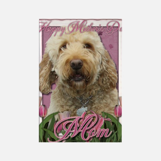 Mothers_Day_Pink_Tulips_Goldendoo Rectangle Magnet