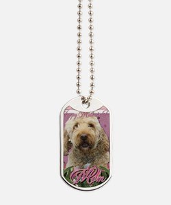 Mothers_Day_Pink_Tulips_Goldendoodle_Mom Dog Tags