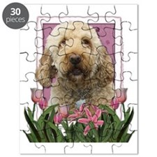 Pink_Tulips_Goldendoodle Puzzle