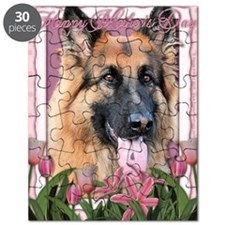 Mothers_Day_Pink_Tulips_German_Shepherd_Cha Puzzle