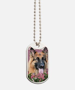 Mothers_Day_Pink_Tulips_German_Shepherd_C Dog Tags