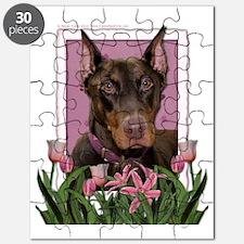 Pink_Tulips_Doberman_Rocky Puzzle