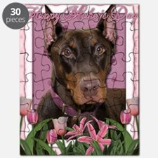 Mothers_Day_Pink_Tulips_Doberman_Red_Rocky Puzzle