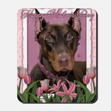 Mothers_Day_Pink_Tulips_Doberman_Red_Roc Mousepad