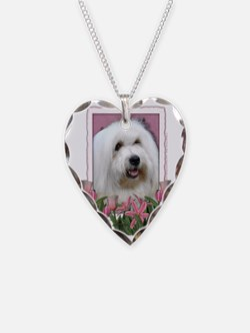 Pink_Tulips_Coton_de_Tulear Necklace