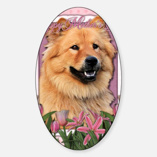 Mothers_Day_Pink_Tulips_Chow_Cinny Sticker (Oval)