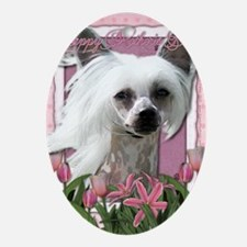 Mothers_Day_Pink_Tulips_Chinese_Cres Oval Ornament