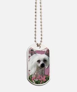 Mothers_Day_Pink_Tulips_Chinese_Crested_K Dog Tags