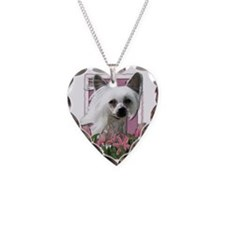 Pink_Tulips_Chinese_Crested_K Necklace