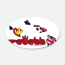 HIstateFlagILY Oval Car Magnet