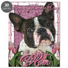 Mothers_Day_Pink_Tulips_Boston_Terrier_Mom Puzzle
