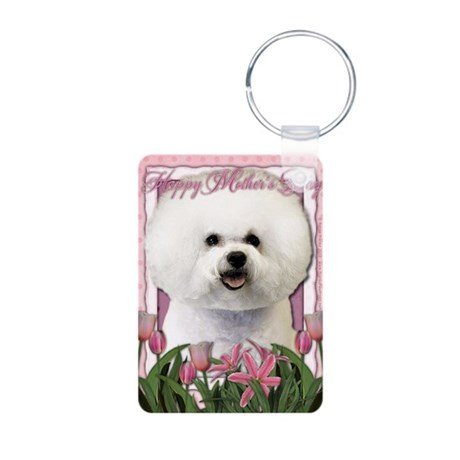 Mothers_Day_Pink_Tulips_Bi Aluminum Photo Keychain