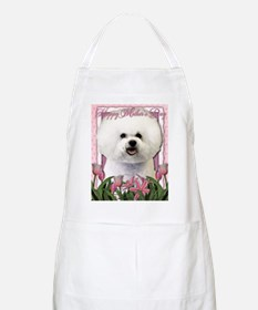 Mothers_Day_Pink_Tulips_Bichon_Frise Apron