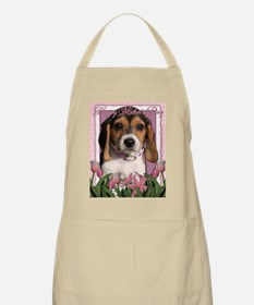 Mothers_Day_Pink_Tulips_Beagle_Puppy Apron