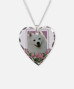 Pink_Tulips_American_Eskimo Necklace Heart Charm