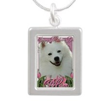 Mothers_Day_Pink_Tulips_ Silver Portrait Necklace
