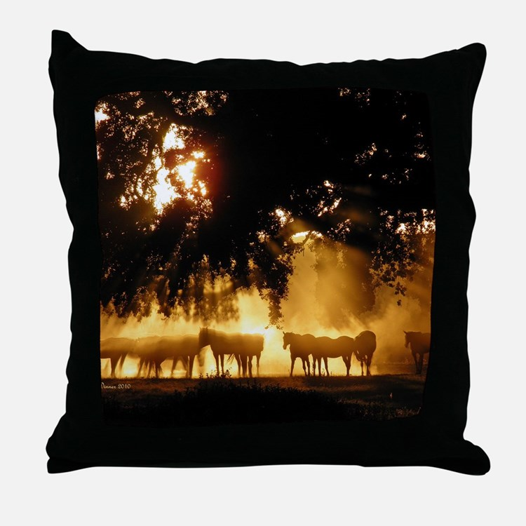 Field Horses signed. Oct. Winner Throw Pillow